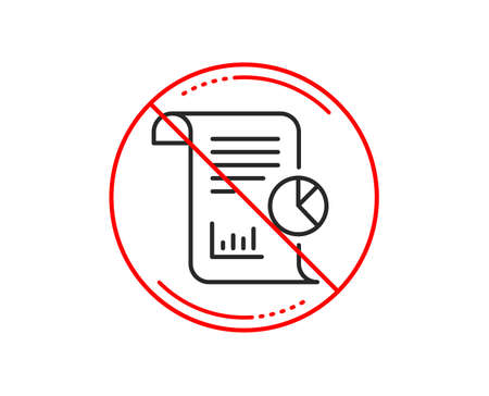 No or stop sign. Report line icon. Business management sign. Company statistics symbol. Caution prohibited ban stop symbol. No  icon design.  Vector Banque d'images - 114437421
