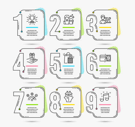 Infographic template with numbers 9 options. Set of Correct answer, Shopping bags and Ship icons. Trophy, Payment methods and Cleaning signs. Loyalty program, Success business and Musical note symbols