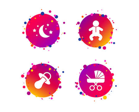 Moon and stars symbol. Baby infants icon. Buggy and dummy signs. Child pacifier and pram stroller. Gradient circle buttons with icons. Random dots design. Vector Illustration