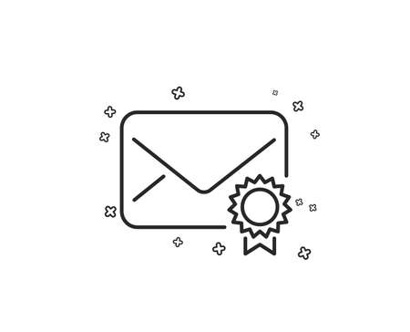 Verified Mail line icon. Confirmed Message correspondence sign. E-mail symbol. Geometric shapes. Random cross elements. Linear Verified Mail icon design. Vector