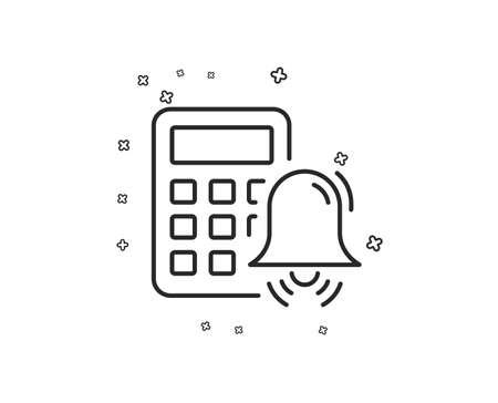 Calculator alarm line icon. Accounting sign. Calculate finance symbol. Geometric shapes. Random cross elements. Linear Calculator alarm icon design. Vector