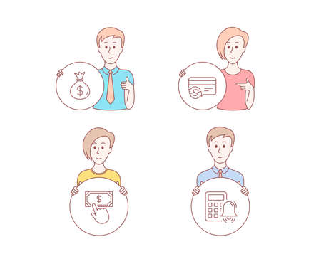 People hand drawn style. Set of Payment click, Money bag and Change card icons. Calculator alarm sign. Financial transfer, Usd currency, Payment method. Accounting.  Character hold circle button