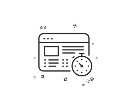 Web timer line icon. Online quiz test sign. Geometric shapes. Random cross elements. Linear Web timer icon design. Vector