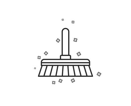 Cleaning mop line icon. Sweep or Wash a floor symbol. Washing Housekeeping equipment sign. Geometric shapes. Random cross elements. Linear Cleaning mop icon design. Vector