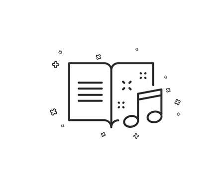 Music book line icon. Musical note sign. Geometric shapes. Random cross elements. Linear Music book icon design. Vector Иллюстрация