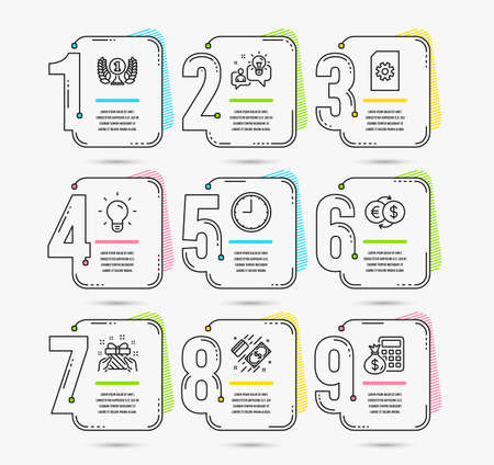 Infographic template with numbers 9 options. Set of Time, Gift and Payment icons. Laureate award, Light bulb and File management signs. Idea, Money exchange and Finance calculator symbols. Vector Illustration