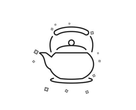 Teapot line icon. Hot drink sign. Fresh beverage in kettle symbol. Geometric shapes. Random cross elements. Linear Teapot icon design. Vector
