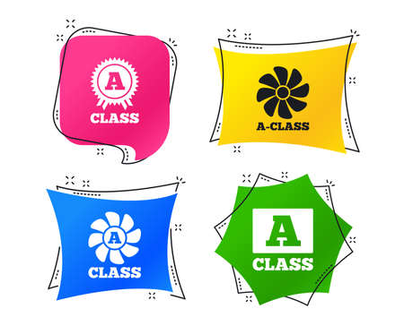 A-class award icon. A-class ventilation sign. Premium level symbols. Geometric colorful tags. Banners with flat icons. Trendy design. Vector