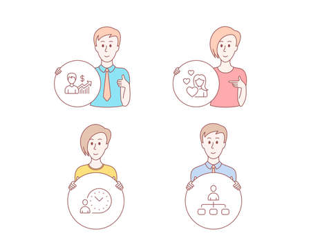 People hand drawn style. Set of Love, Business growth and Time management icons. Management sign. Woman in love, Earnings results, Work time. Agent.  Character hold circle button. Man with like hand  イラスト・ベクター素材