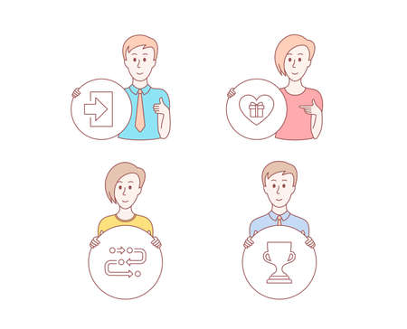 People hand drawn style. Set of Login, Romantic gift and Methodology icons. Award cup sign. Sign in, Surprise with love, Development process. Trophy.  Character hold circle button. Man with like hand
