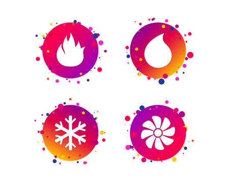 HVAC icons. Heating, ventilating and air conditioning symbols. Water supply. Climate control technology signs. Gradient circle buttons with icons. Random dots design. Vector Standard-Bild - 114349973