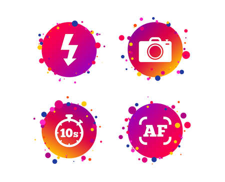 Photo camera icon. Flash light and autofocus AF symbols. Stopwatch timer 10 seconds sign. Gradient circle buttons with icons. Random dots design. Vector