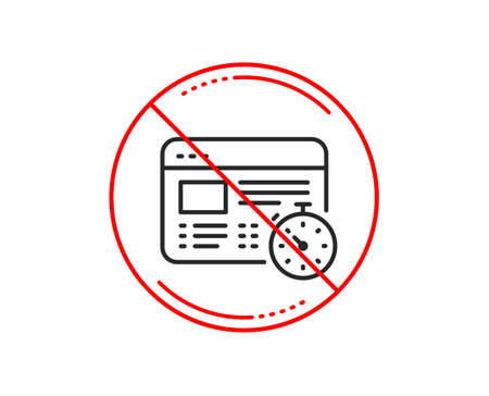 No or stop sign. Web timer line icon. Online quiz test sign. Caution prohibited ban stop symbol. No  icon design.  Vector Vectores