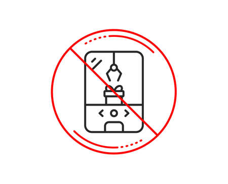 No or stop sign. Crane claw machine line icon. Amusement park sign. Carousels symbol. Caution prohibited ban stop symbol. No  icon design.  Vector