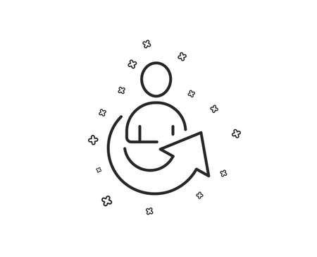 Share line icon. Business management sign. Employee, Manager refer symbol. Geometric shapes. Random cross elements. Linear Share icon design. Vector