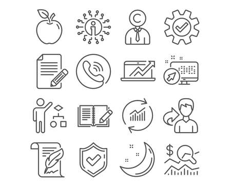 Set of Article, Copyrighter and Feather icons. Algorithm, Feedback and Check investment signs. Sales diagram, Update data and Service symbols. Feedback, Writer person, Copyright page. Vector