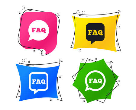 FAQ information icons. Help speech bubbles symbols. Circle and square talk signs. Geometric colorful tags. Banners with flat icons. Trendy design. Vector Illustration