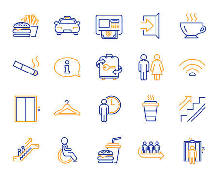 Public Services, Wifi line icons. Elevator, Cloakroom and Taxi icons. Exit, ATM and Escalator. Wifi, Lift or elevator, Restaurant food. Public cloakroom, information, coffee and smoking. Vector