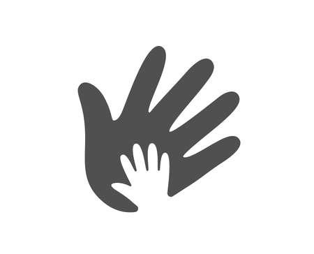Icona della mano. Segno di responsabilità sociale. Onestà, simbolo di collaborazione. Elemento di design di qualità. Icona di stile classico. Vettore