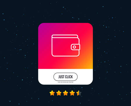Money Wallet line icon. Cash symbol. Payment method sign. Web or internet line icon design. Rating stars. Just click button. Vector Ilustrace
