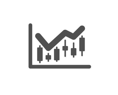 Candlestick chart icon. Financial graph sign. Stock exchange symbol. Business investment. Quality design element. Classic style icon. Vector Çizim