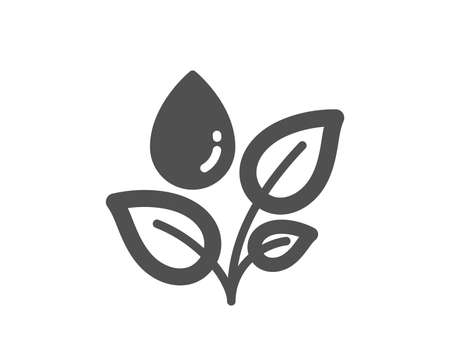 Plants watering icon. Leaves dew sign. Environmental care symbol. Quality design element. Classic style icon. Vector Ilustração