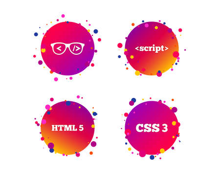 Programmer coder glasses icon. HTML5 markup language and CSS3 cascading style sheets sign symbols. Gradient circle buttons with icons. Random dots design. Vector Illustration