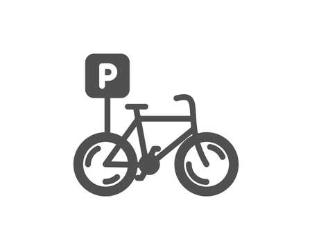 Bicycle parking icon. Bike park sign. Public transport place symbol. Quality design element. Classic style icon. Vector