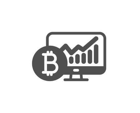 Bitcoin graph icon. Cryptocurrency analytics sign. Crypto money statistics symbol. Quality design element. Classic style icon. Vector
