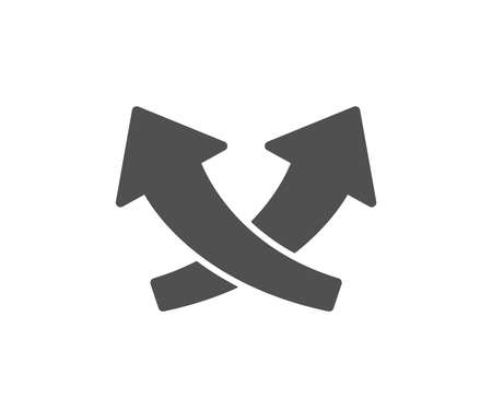 Intersection arrows icon. Exchange and turn, cross sign. Quality design element. Classic style icon. Vector Ilustração