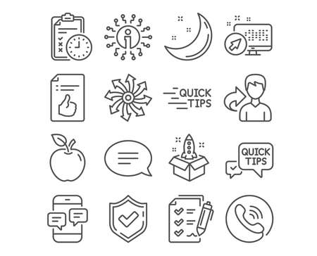 Set of Chat, Exam time and Education icons. Versatile, Approved document and Quick tips signs. Survey checklist, Startup and Phone messages symbols. Speech bubble, Checklist, Quick tips. Vector