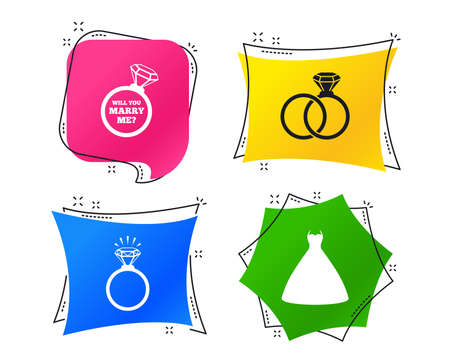 Wedding dress icon. Bride and groom rings symbol. Wedding or engagement day ring shine with diamond sign. Will you marry me? Geometric colorful tags. Banners with flat icons. Trendy design. Vector