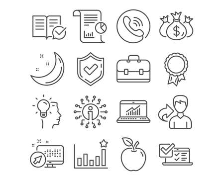 Set of Online survey, Idea and Approved documentation icons. Check investment, Report and Portfolio signs. Efficacy, Success and Online statistics symbols. Vector Vektoros illusztráció
