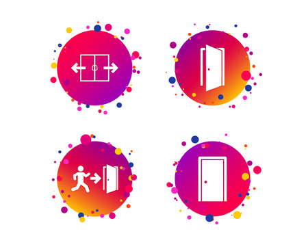 Automatic door icon. Emergency exit with human figure and arrow symbols. Fire exit signs. Gradient circle buttons with icons. Random dots design. Vector