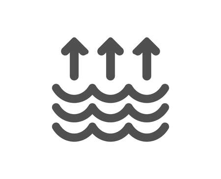 Evaporation icon. Global warming sign. Waves symbol. Quality design element. Classic style icon. Vector