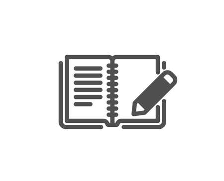 Feedback icon. Book with pencil sign. Copywriting symbol. Quality design element. Classic style icon. Vector  イラスト・ベクター素材