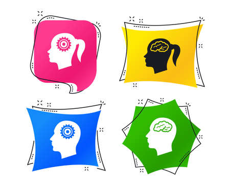 Head with brain icon. Male and female human think symbols. Cogwheel gears signs. Woman with pigtail. Geometric colorful tags. Banners with flat icons. Trendy design. Vector Illustration
