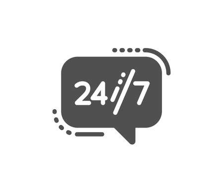24/7 service icon. Call support sign. Feedback chat symbol. Quality design element. Classic style icon. Vector