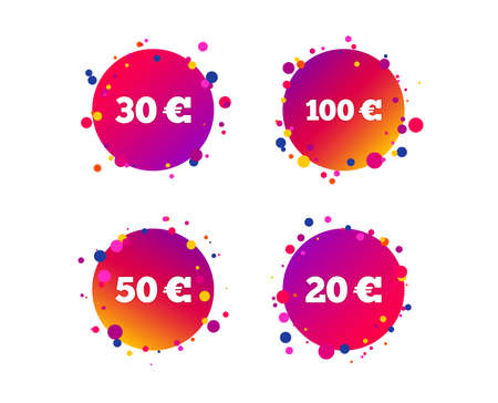 Money in Euro icons. 100, 20, 30 and 50 EUR symbols. Money signs Gradient circle buttons with icons. Random dots design. Vector