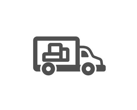 Truck transport icon. Transportation vehicle sign. Delivery symbol. Quality design element. Classic style icon. Vector