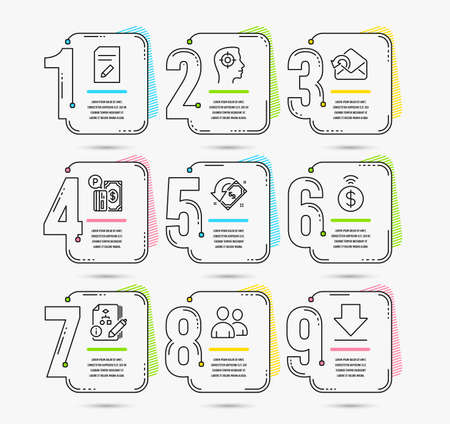Infographic timeline set of Contactless payment, Parking payment and Send mail icons. Edit document, Recruitment and Cashback signs. Algorithm, Users and Downloading symbols