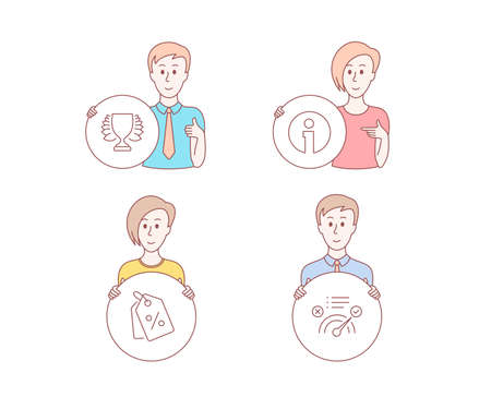 People hand drawn style. Set of Winner, Info and Discount tags icons. Correct answer sign. Sports achievement, Information, Sale coupons. Approved.  Character hold circle button. Man with like hand