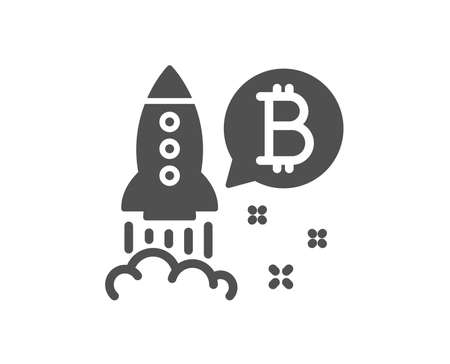 Bitcoin icon. Cryptocurrency startup sign. Crypto rocket symbol. Quality design element. Classic style icon. Vector Ilustracja