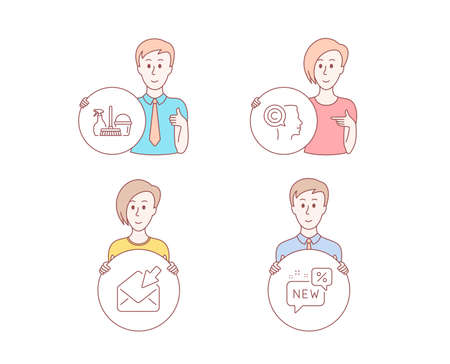 People hand drawn style. Set of Open mail, Writer and Household service icons. New sign. View e-mail, Copyrighter, Cleaning equipment. Discount.  Character hold circle button. Man with like hand