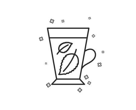 Mint Tea line icon. Fresh herbal beverage sign. Mentha leaves symbol. Geometric shapes. Random cross elements. Linear Mint leaves icon design. Vector