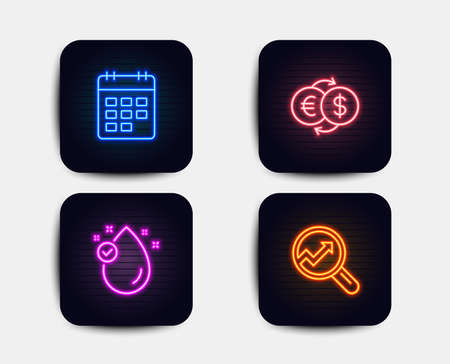Neon glow lights. Set of Vitamin e, Money exchange and Calendar icons. Analytics sign. Oil drop, Eur to usd, Event reminder. Audit analysis.  Neon icons. Glowing light banners. Vector