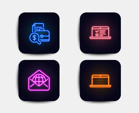 Neon glow lights. Set of Web mail, Accounting report and Web lectures icons. Laptop sign. World communication, Financial case, Online test. Mobile computer.  Neon icons. Glowing light banners. Vector Illustration