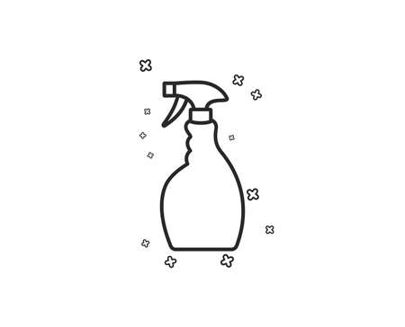 Cleaning spray line icon. Washing liquid or Cleanser symbol. Housekeeping equipment sign. Geometric shapes. Random cross elements. Linear Spray icon design. Vector 向量圖像