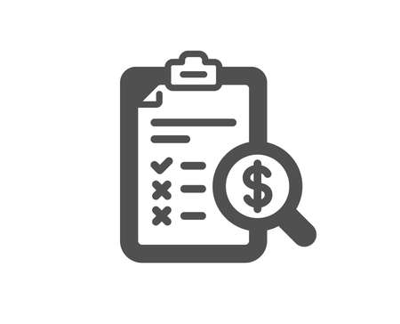 Accounting report icon. Audit sign. Check finance symbol. Quality design element. Classic style icon. Vector Illustration