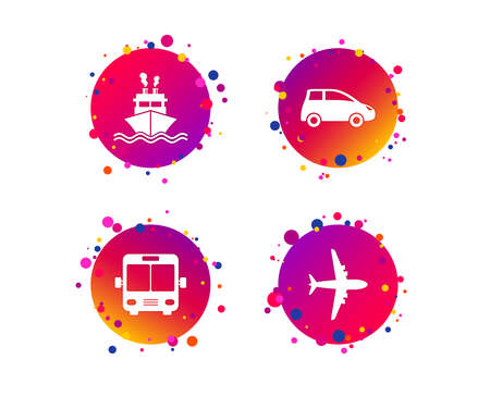 Transport icons. Car, Airplane, Public bus and Ship signs. Shipping delivery symbol. Air mail delivery sign. Gradient circle buttons with icons. Random dots design. Vector Stock Illustratie